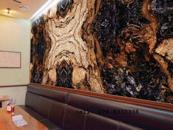 đá ốp tường tivi đá magma gold