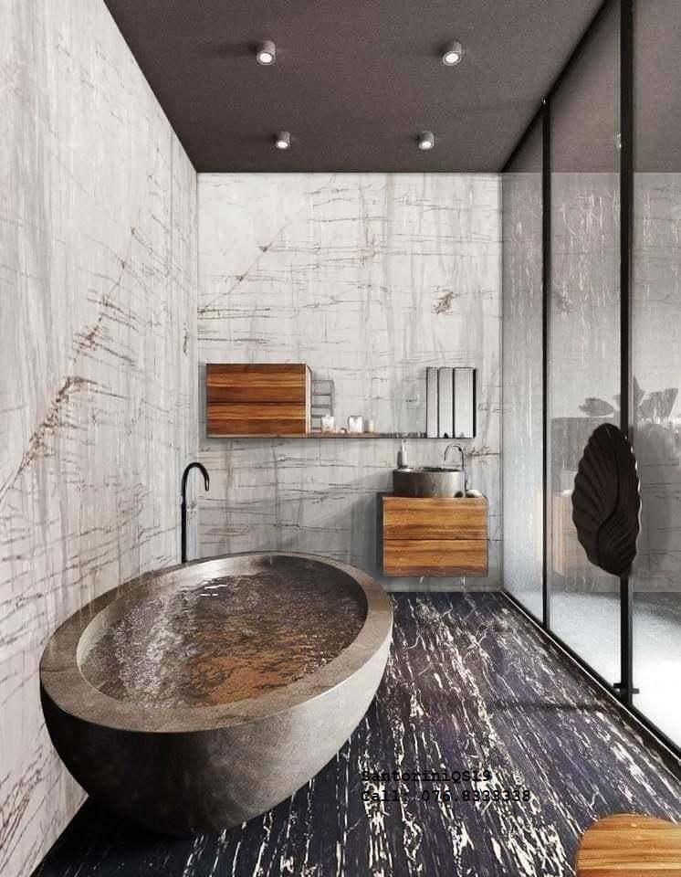 đá santorini làm phòng tắm